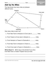 Add Up the Miles: Enrichment Activity Worksheet