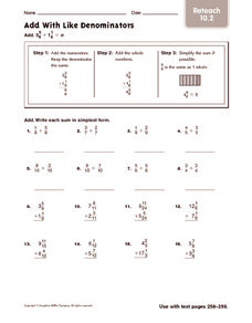 Add with Like Denominators: Reteach Worksheet