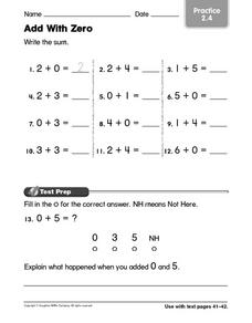 Add With Zero Practice 2.4 Worksheet