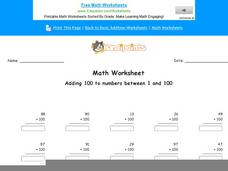 Adding 100 to Numbers Between 1 and 100: Part 5 Worksheet