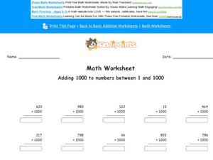 Adding 1000 to Numbers Between 1 and 1000: Part 4 Worksheet