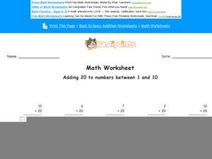 Adding 20 to Numbers Between 1 and 10: Part 7 Worksheet