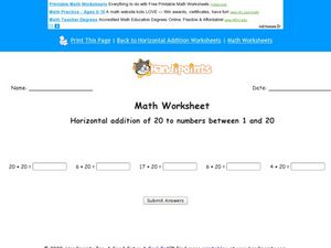 Adding 20 to Numbers Between 1 and 20 Worksheet