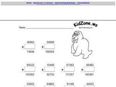 Adding 5 Digit Numbers and Zero Worksheet