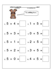 Adding 5 to a Single Digit Worksheet