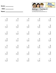Adding 6 Practice #1 Worksheet