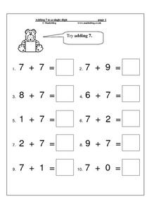 Adding 7 to a Single Digit Worksheet