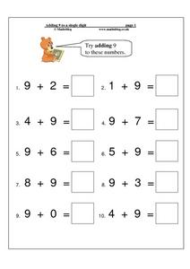 Adding 9 to a Single Digit Worksheet