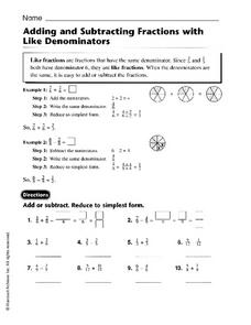 Adding and Subtracting Fractions with Like Denominators - Harcourt Worksheet