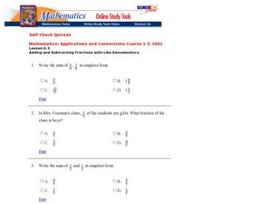 Adding and Subtracting Fractions with Like Denominators Worksheet