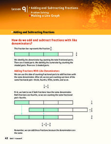 Adding and Subtracting Fractions Worksheet