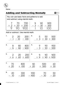 Adding and Subtracting Mentally Worksheet