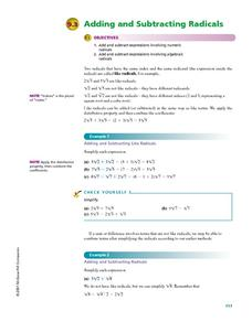 math worksheet : adding and subtracting radicals 7th  10th grade worksheet  : Addition And Subtraction Of Radicals Worksheet
