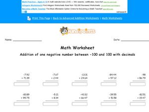 Adding Decimals and Negative Numbers Lesson Plan