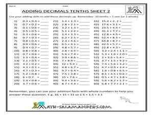 math worksheet : adding decimals tenths 4th  5th grade worksheet  lesson pla  : Addition Decimals Worksheets
