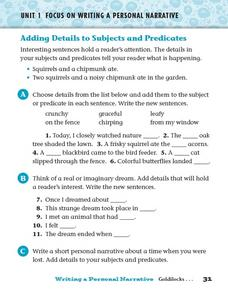 Adding Details to Subjects and Predicates Worksheet