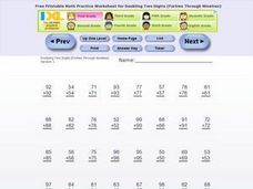 Adding Doubles Two Digit Numbers Worksheet
