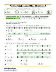 Adding Fractions And Mixed Numbers 1 Worksheet