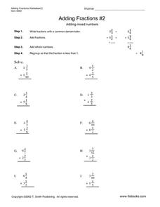 Adding Fractions--Worksheet 2 Worksheet