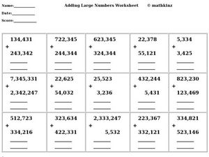 Adding Large Numbers Worksheet Worksheet