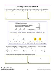 Adding Mixed Numbers  1 Worksheet