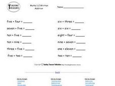 Adding Number Words Worksheet