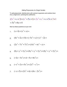 Worksheet Adding Polynomials Worksheet adding polynomials practice worksheets intrepidpath free math addition of