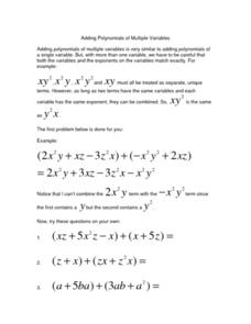 Adding Polynomials of Multiple Variables Worksheet