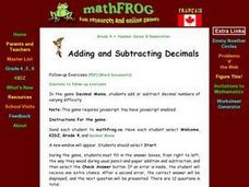 Adding & Subtracting Decimals Lesson Plan