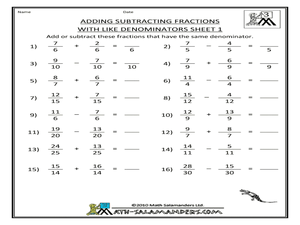 Printables Adding And Subtracting Fractions Worksheets fraction subtraction worksheets grade 5 addition of 3rd adding and subtracting fractions worksheets
