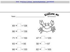 Adding Zero to 2 Digit Numbers Worksheet