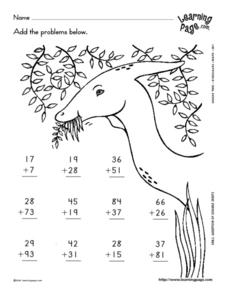 Addition -- 2 Digits-- With Dinosaur Graphic Lesson Plan