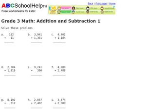 Addition and Subtraction  1 Worksheet