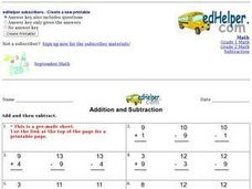 Addition and Subtraction 2 Worksheet
