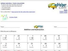 Addition and Subtraction  3 Worksheet
