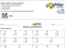 Addition and Subtraction Fact Families Worksheet