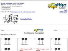 Addition and Subtraction: Mixed Worksheet