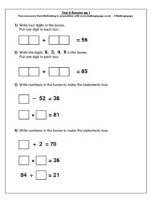 Addition and Subtraction, Multiplication and Division Worksheet
