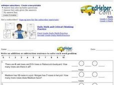 Addition and Subtraction Sentences Worksheet