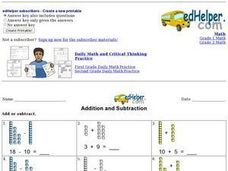 Addition and Subtraction with Counters Worksheet
