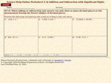 Addition and Subtraction with Significant Digits Worksheet