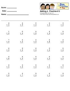 Addition by 4 Worksheet