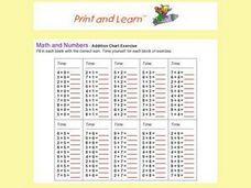 Addition Chart Exercise Worksheet