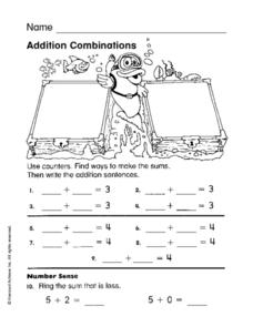 Addition Combinations Worksheet