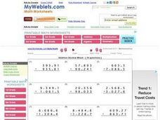 Addition Decimal Mixed Worksheet