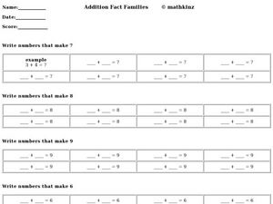 Addition Fact Families: Numbers That Make 6, 7, 8, 9, 10 Worksheet