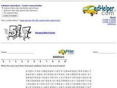 Addition Fact Word Search 2 Worksheet