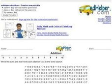Addition Fact Word Search Worksheet