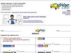 Addition Facts: Counters 2 Worksheet