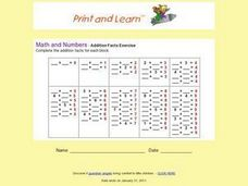 Addition Facts Exercise Worksheet
